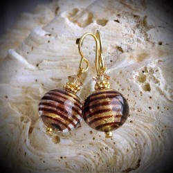 BIZ CHOCOLATE earrings IN REAL GLASS OF MURANO