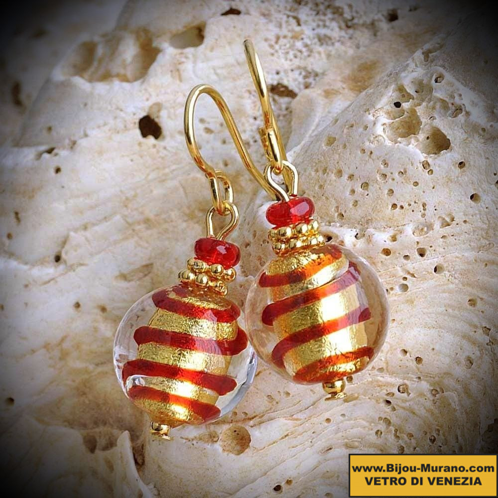 BIZ RED-AND-GOLD earrings IN REAL GLASS OF MURANO