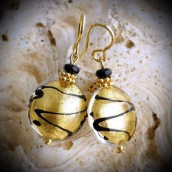 JAMES GOLD earrings IN REAL GLASS OF MURANO IN VENICE