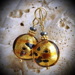 JAMES GOLD TACHETE earrings IN REAL GLASS OF MURANO IN VENICE