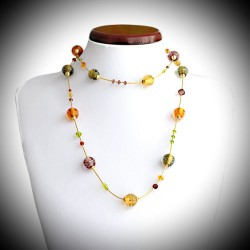 FIDJI AMBRE COLLIER LONG EN VERITABLE VERRE DE MURANO