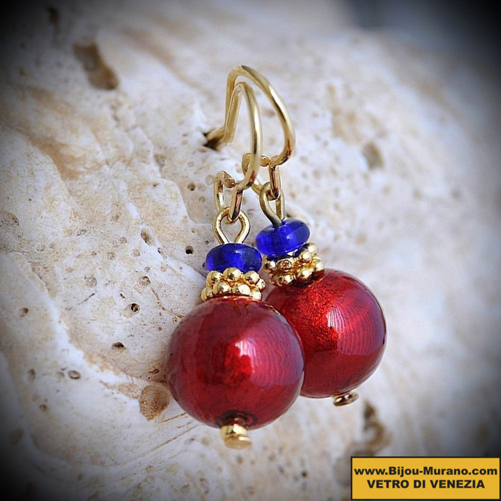 RED BALLS MINI earrings IN REAL GLASS OF MURANO IN VENICE