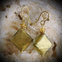 BUTTERFLY GOLD/GREEN earrings IN REAL GLASS OF MURANO