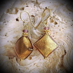 BUTTERFLY GOLD earrings IN REAL GLASS OF MURANO