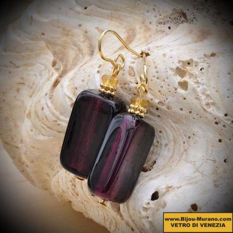Earrings GENUINE MURANO GLASS AMETHYST OF VENICE