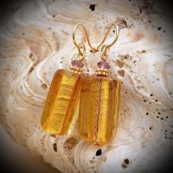 Boucles d'oreilles or jaune en verre de Murano de Venise