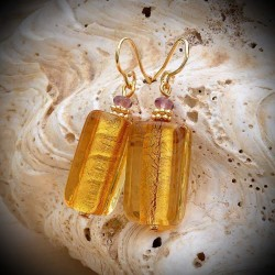 Earrings yellow gold, Murano glass of Venice