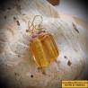 Earrings, Murano glass Venetian yellow gold
