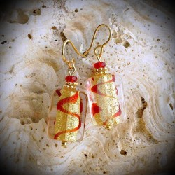 ZOE earrings RED AND GOLD GENUINE MURANO GLASS