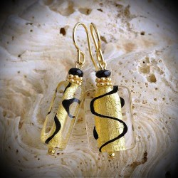 ZOE earrings BLACK AND GOLD GENUINE MURANO GLASS