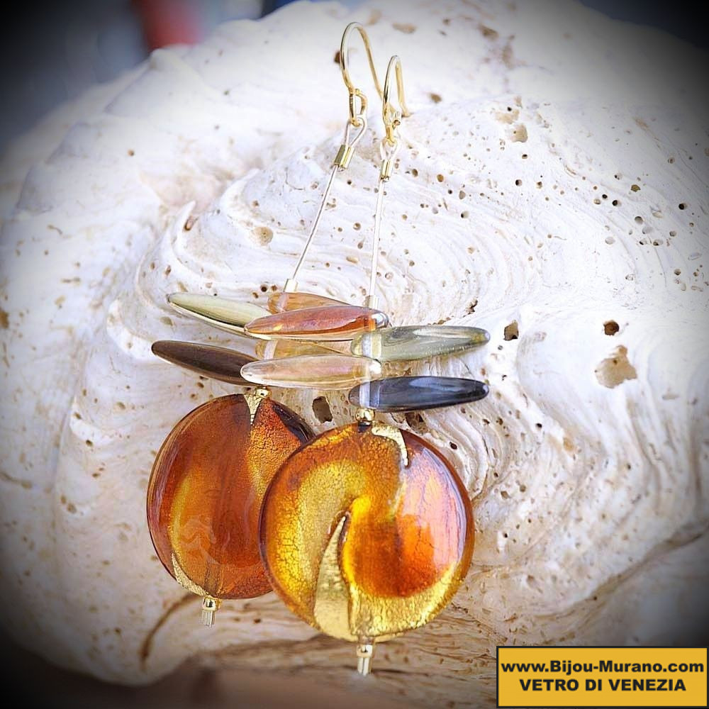 DRAGONFLY AMBER earrings IN REAL GLASS OF MURANO IN VENICE
