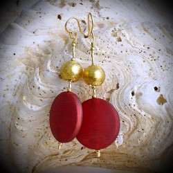 FANCY ROUGE SATIN BOUCLES D'OREILLES EN VERITABLE VERRE DE MURANO DE VENISE