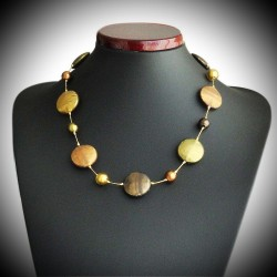 FANCY SATIN GOLD NECKLACE IN MURANO GLASS OF VENICE