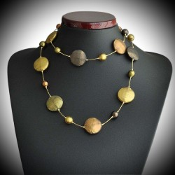 FANCY SATIN GOLD NECKLACE LONG NECKLACE MURANO GLASS OF VENICE