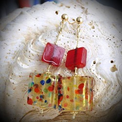 NOUGATINE RED earrings IN REAL GLASS OF MURANO IN VENICE