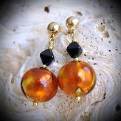 TANGIER AMBER earrings IN REAL GLASS OF MURANO IN VENICE