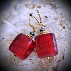 CANDY RED earrings IN REAL GLASS OF MURANO