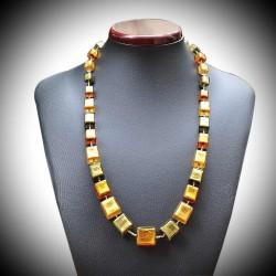 NECKLACE CUBIC GOLD GENUINE MURANO GLASS OF VENICE