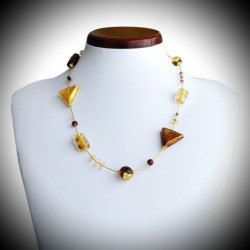 STAR NECKLACE AMBER GOLD GENUINE MURANO GLASS