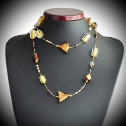 STAR NECKLACE LONG AMBER GOLD GENUINE MURANO GLASS
