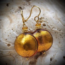 Earrings IN REAL GLASS OF MURANO AMBER VENETIAN