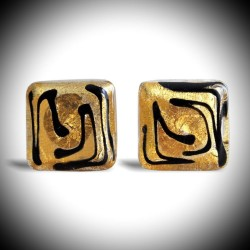 ZIG-ZAG GOLD CUFFLINKS IN GENUINE MURANO GLASS FROM VENICE
