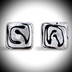 CREE SILVER CUFFLINKS IN GENUINE MURANO GLASS FROM VENICE