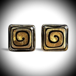 SPIRAL GOLD CUFFLINKS IN GENUINE MURANO GLASS FROM VENICE