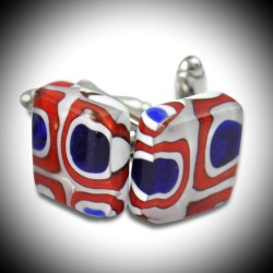 CREE RED AND BLUE CUFFLINKS IN MURANO GLASS