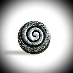 RING COLIMACON BLACK AND SILVER MURANO GLASS