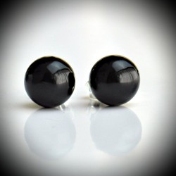 Earrings STUD BLACK GENUINE MURANO GLASS OF VENICE