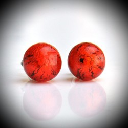 BOUCLES D'OREILLES CLOU ROUGE ORANGE EN VERITABLE VERRE DE MURANO DE VENISE