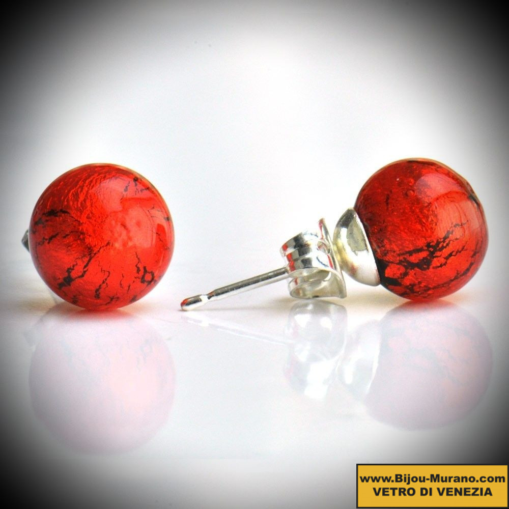 Veritable Murano D'oreilles Rouge Verre Clou Orange De Boucles En mnwN80v