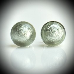 Earrings STUD GRAY GENUINE MURANO GLASS OF VENICE