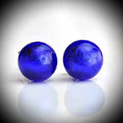 Earrings STUD BLUE COBALT IN the GENUINE MURANO GLASS OF VENICE