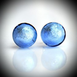 Earrings STUD BLUE OCEAN IN REAL GLASS OF MURANO IN VENICE