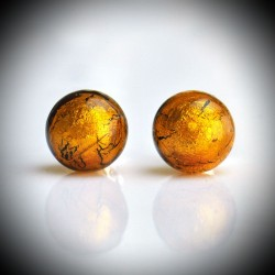 Earrings STUD AMBER IN GENUINE MURANO GLASS FROM VENICE
