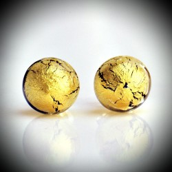 Earrings STUD GOLD CRYSTAL GENUINE MURANO GLASS OF VENICE