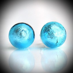 Earrings STUD BLUE IN GENUINE MURANO GLASS FROM VENICE
