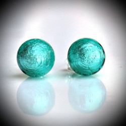 Earrings STUD TURQUOISE BLUE GENUINE MURANO GLASS OF VENICE