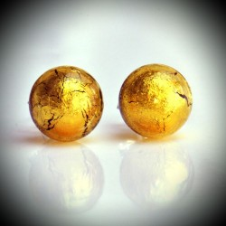 Earrings STUD GOLD GENUINE MURANO GLASS OF VENICE