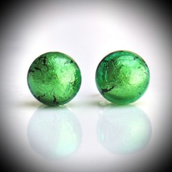 Earrings BUTTON-GREEN NAIL GENUINE MURANO GLASS OF VENICE
