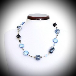 ANCIENT PHOENICIAN PORT BLUE NECKLACE GENUINE VERRRE OF MURANO IN VENICE