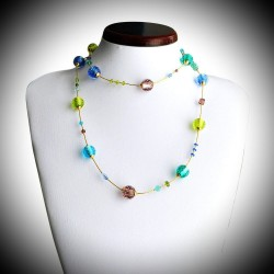 FIZZY BLEU COLLIER LONG EN VERITABLE VERRE DE MURANO