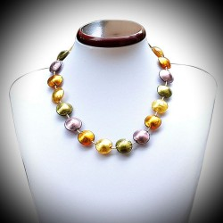 COMETE GOLD AND PARMA NECKLACE JEWELRY GENUINE MURANO GLASS OF VENICE