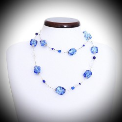 SASSO RIGADIN NECKLACE LONG BLUE IN REAL GLASS OF MURANO VENICE