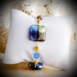 QUADRIFOGLIO BLUE BRACELET GENUINE MURANO GLASS OF VENICE