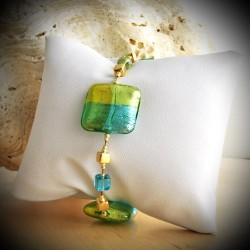 QUADRIFOGLIO GREEN BRACELET GENUINE MURANO GLASS OF VENICE