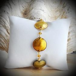 PASTIGLIA MULTICOLOR GOLD AUTUMN BRACELET GENUINE MURANO GLASS