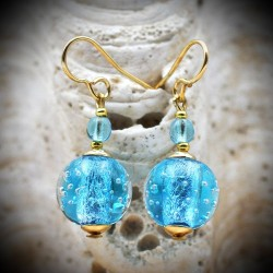 FIJI BLUE earrings IN REAL GLASS OF MURANO IN VENICE